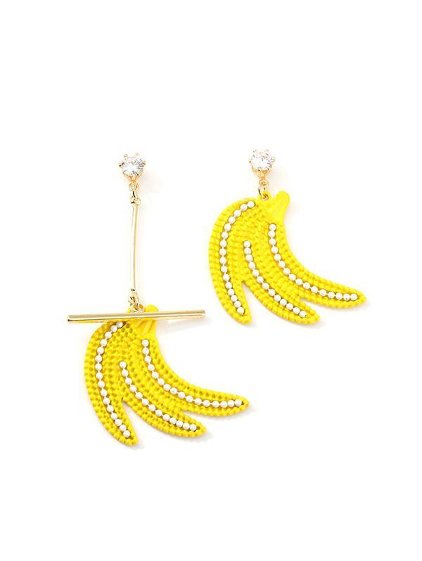 Rhinestone Asymmetric Banana Drop Earrings, Gold