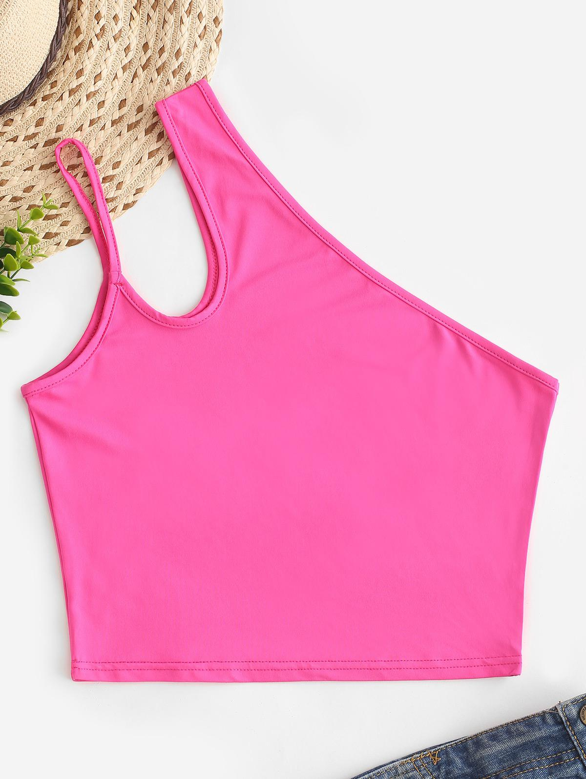 Neon One Shoulder Cut Out Tank Top thumbnail