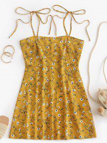 ZAFUL Ditsy طباعة التعادل فستان الشمس - نحلة صفراء S