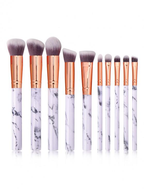 lady 10Pcs Marble Pattern Makeup Brushes - WHITE
