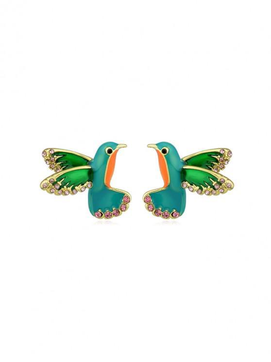 best Colorful Faux Diamond Flying Bird Stud Earrings - GREEN