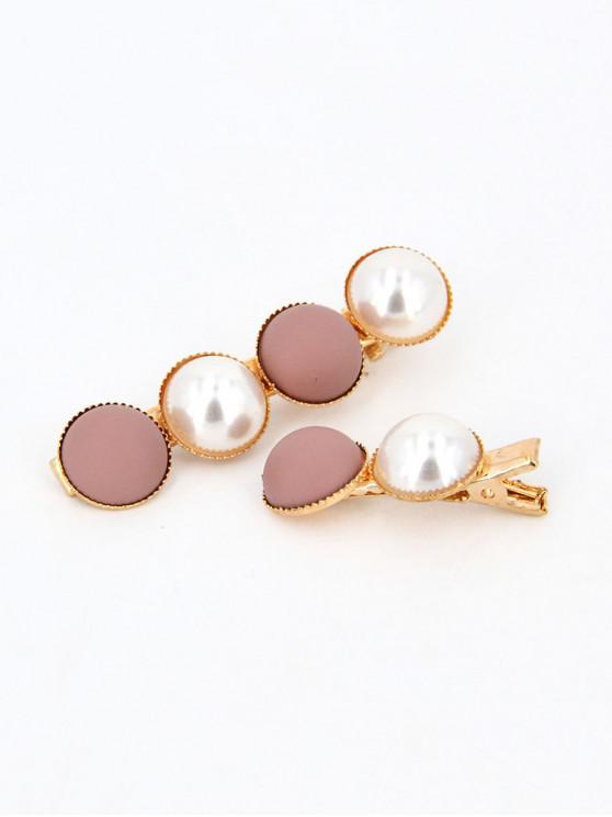 Set di 2 clip per capelli tondo in finta perla - Rosa