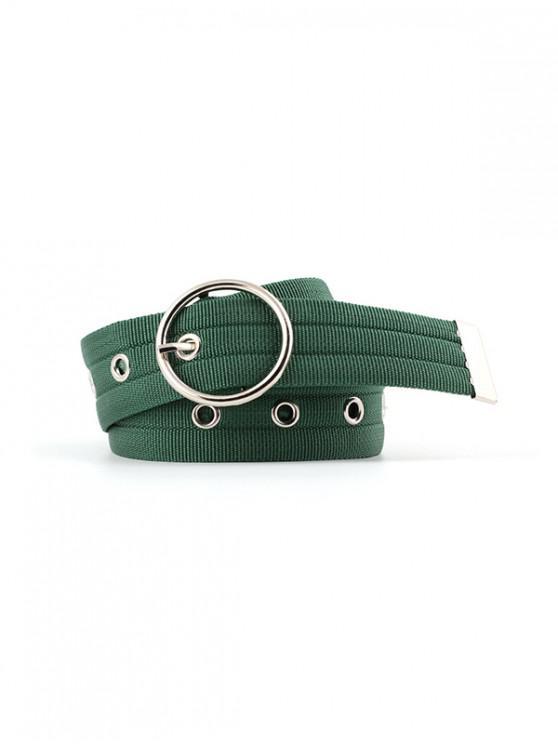 Cintura casual in tessuto con fibbia rotonda - Verde Pine