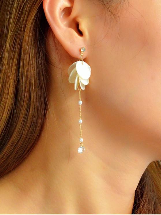 hot Shell Disc Long Chain Earrings - WHITE
