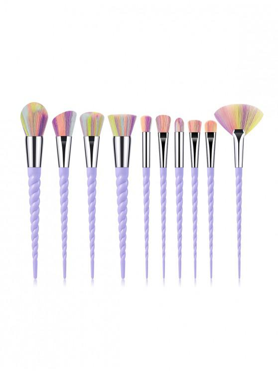 outfit 10Pcs Powder Spiral Makeup Brushes - PURPLE