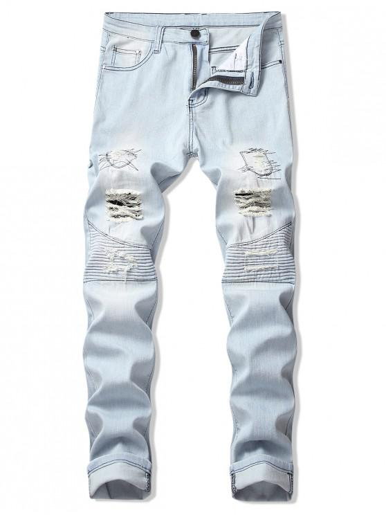 online Destroy Wash Pleated Patchwork Long Straight Jeans - JEANS BLUE 32