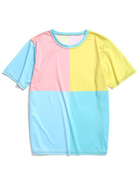 Camiseta de manga corta con paneles de colores bloqueados - Multicolor-A 2XL