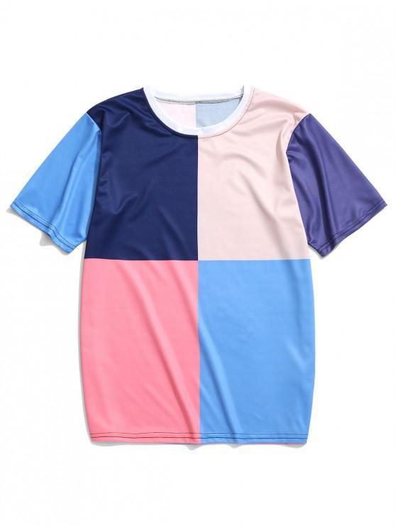 lady Color Blocking Panel Short Sleeves T-shirt - MULTI-B 4XL