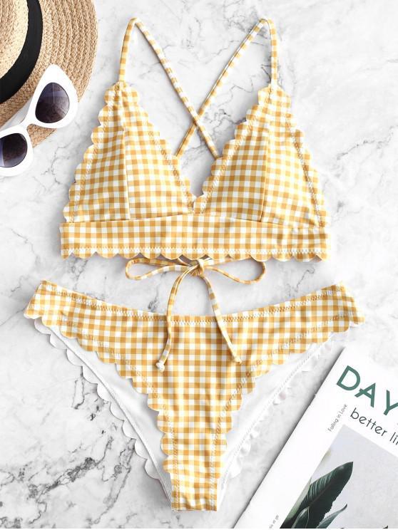 latest ZAFUL Scalloped Crisscross Gingham Bikini Swimsuit - GOLDENROD M