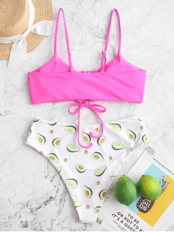 Rose Bain LacetsRouge Zaful À Taille Haute S De Bikini Fruit Imprimé Maillot NnPv0wOym8
