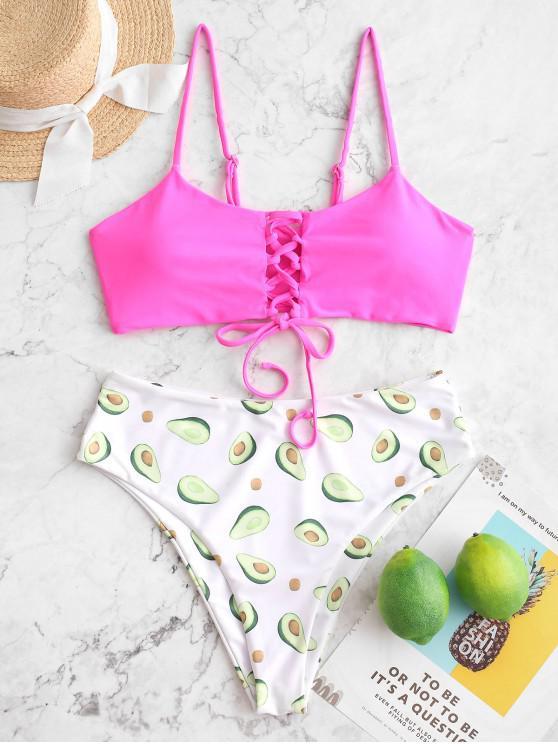 women ZAFUL Fruit Print Lace-up High Waisted Bikini Swimsuit - ROSE RED M