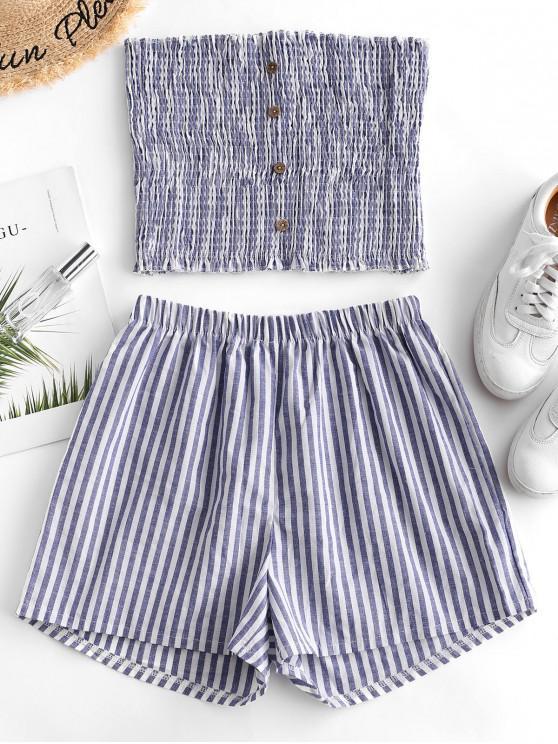 Set di shorts senza bretelle a righe con bottoni - Blu Fiordaliso M