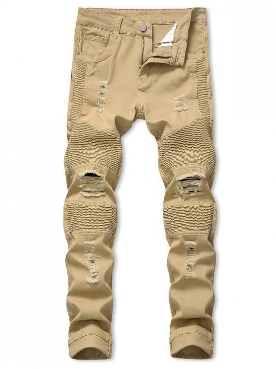 women's Pleated Patchwork Spliced Ripped Long Biker Jeans - KHAKI 36