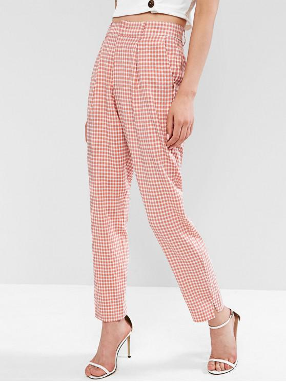 lady High Waisted Gingham Straight Pants - PINK M