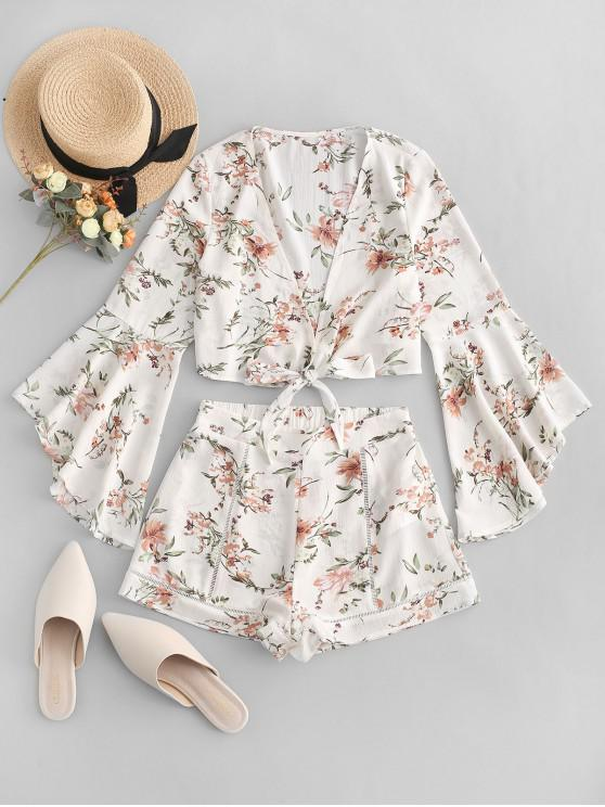 shop ZAFUL Flare Sleeves Floral Print Knotted Two Pieces Suit - WHITE M