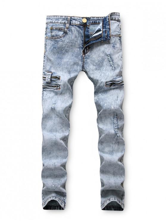 Pantaloni Zipper Pocket con stampa Snow Wash lunghi e strappati - Blu Grigio 42