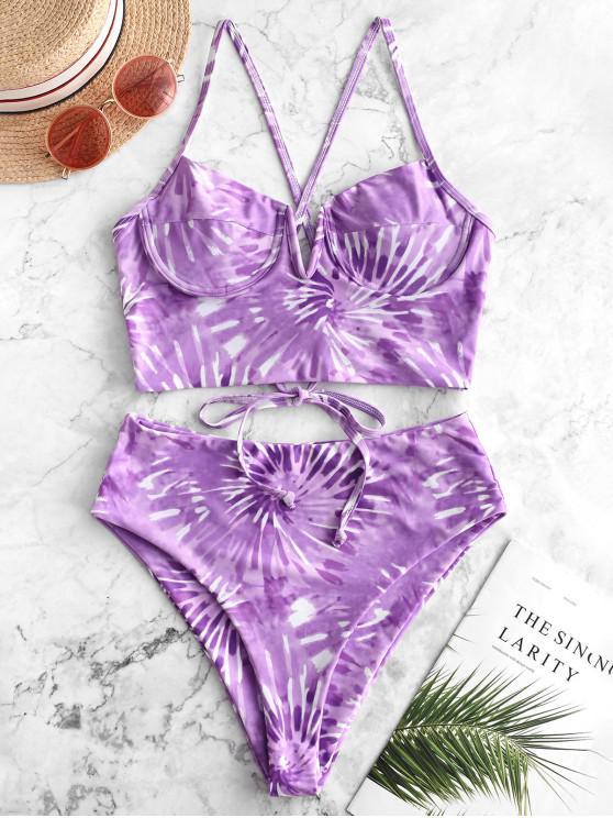 ZAFUL entalhe em espiral V tiewye impressão Underwire Tankini Swimsuit - Cor de Malva XL