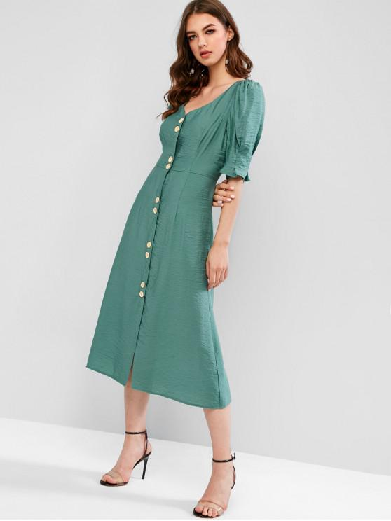 women's ZAFUL Puff Sleeve Button Front A Line Midi Dress - MEDIUM AQUAMARINE L