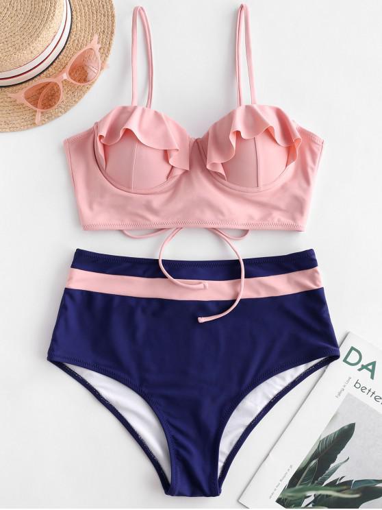 women's ZAFUL Push Up Ruffle Color Block Tankini Swimsuit - MULTI-A S