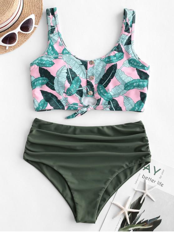 chic ZAFUL Palm Tied Button Embellished Tummy Control Tankini Swimsuit - MULTI-A L