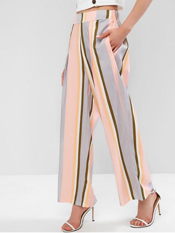 fashion Multicolor Striped Wide Leg Pants - MULTI-A L