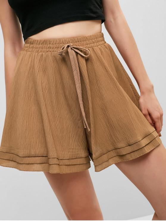 chic High Waist Knotted Wide Leg Shorts - LIGHT BROWN ONE SIZE