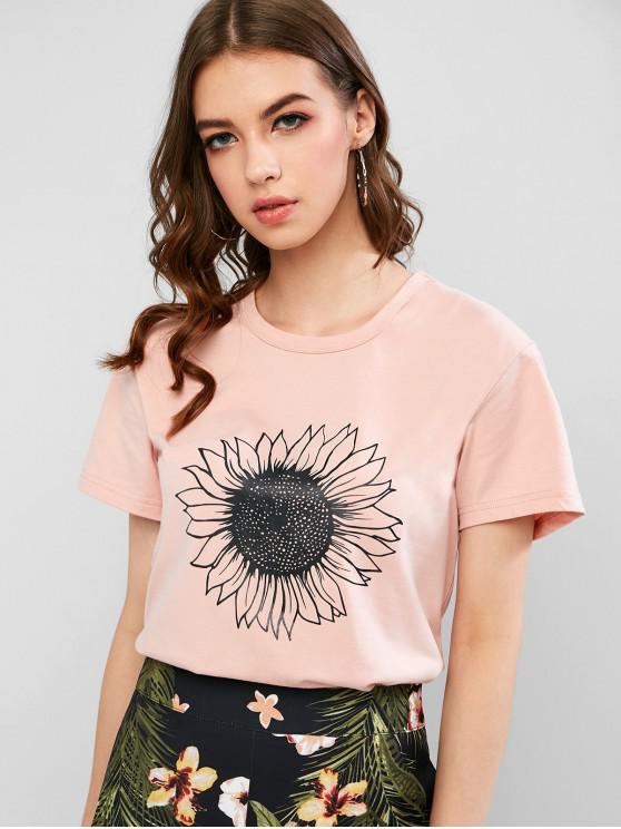 latest Short Sleeve Sunflower Graphic Basic T Shirt - KHAKI ROSE M