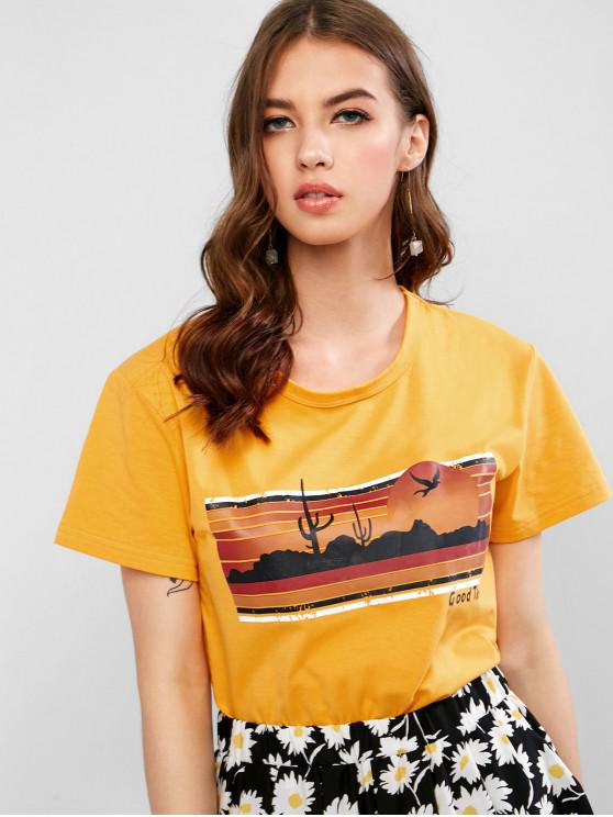 outfits Letter Graphic Sunset Basic T Shirt - YELLOW M