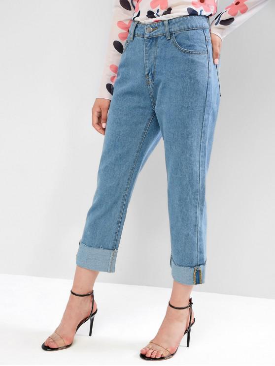 trendy Cuffed Raw Hem Straight Jeans - DENIM BLUE L