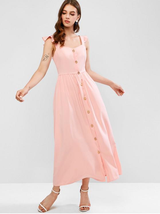 women Ruffled Straps Button Up Maxi Dress - PINK L