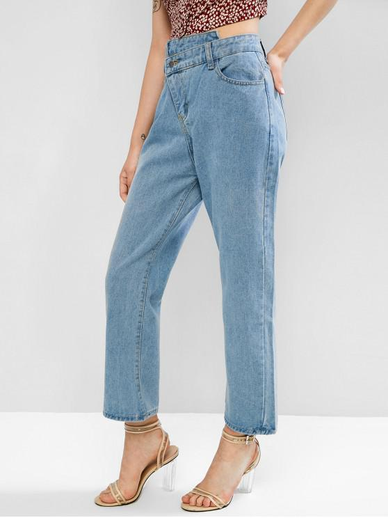ladies Asymmetrical Waist High Waisted Straight Jeans - DENIM BLUE XL
