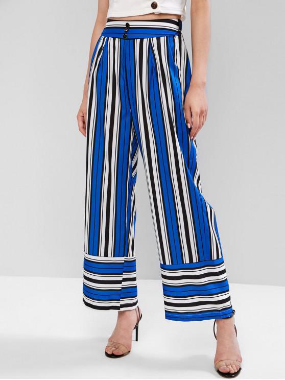 unique Buttons Pockets Striped Wide Leg Pants - MULTI-A M