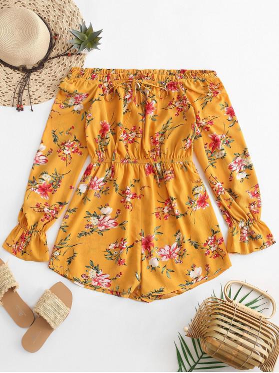 womens ZAFUL Floral Print Ruffles Tied Wide Leg Romper - SUN YELLOW M