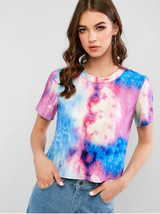 outfit Short Sleeve Stretchy Tie Dye Tee - MULTI-A M
