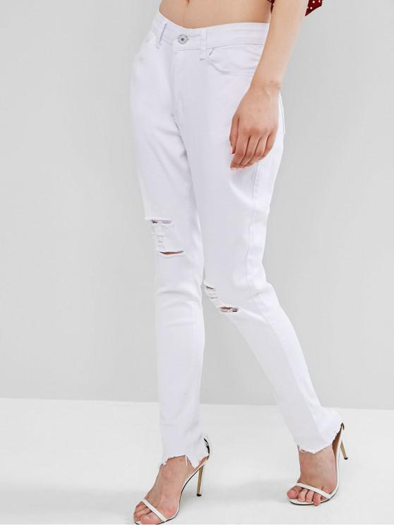shop Skinny Rippes Frayed Hem Jeans - WHITE M