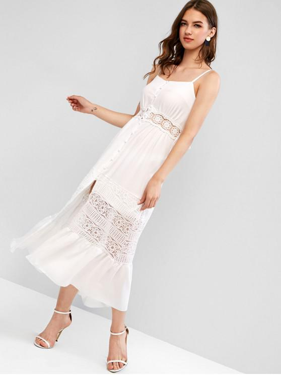 fancy Knotted Back Lace Panel Buttoned Maxi Dress - WHITE M