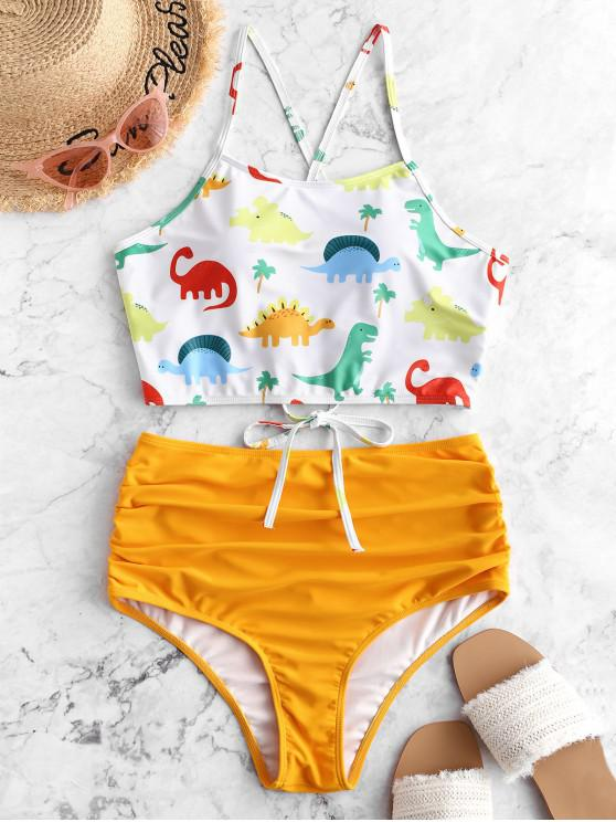 ladies ZAFUL Dinosaur Lace Up Tummy Control Tankini Swimsuit - BRIGHT YELLOW XL