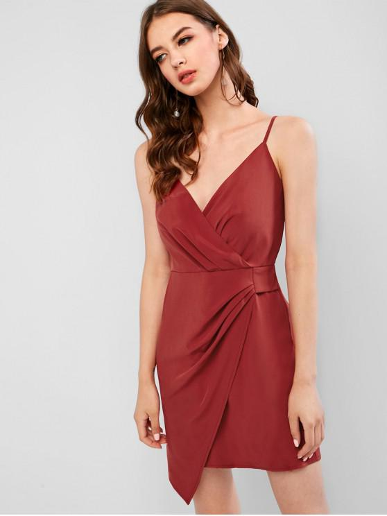 outfit ZAFUL Surplice Overlap Mini Cami Cocktail Dress - FIREBRICK S