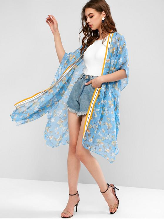 buy Striped Trim Ditsy Floral Chiffon Sheer Tunic Cardigan - CRYSTAL BLUE M