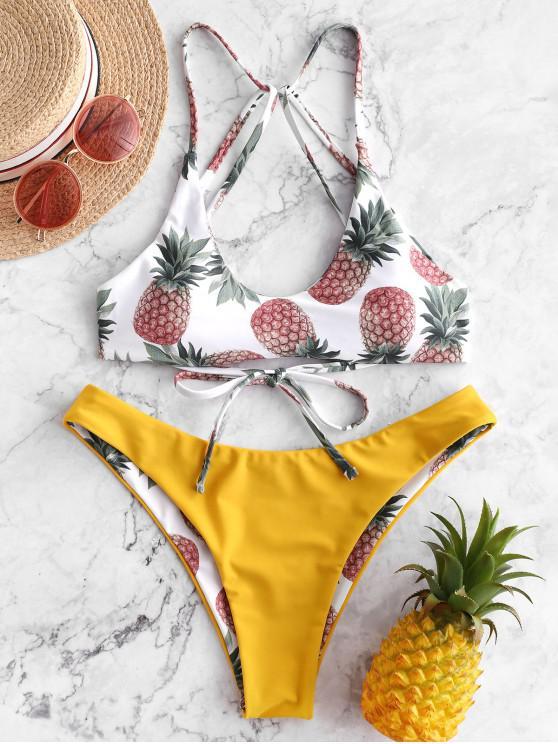 Costume da bagno bikini reversibile con cinturino alla caviglia ZAFUL Pineapple Strappy - Giallo Rubber Ducky L