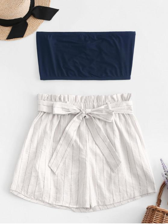 trendy ZAFUL Tube Top and Striped Paperbag Shorts Set - WHITE L
