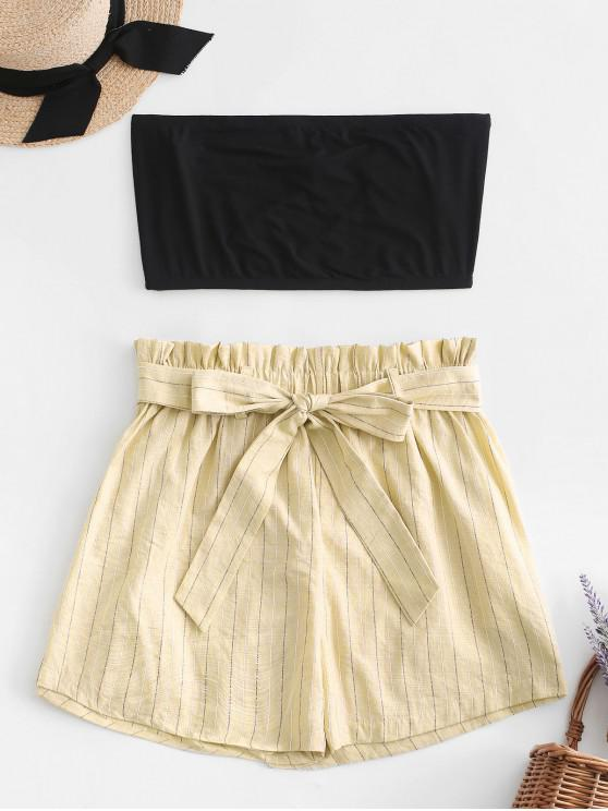 sale ZAFUL Tube Top and Striped Paperbag Shorts Set - CREAM M