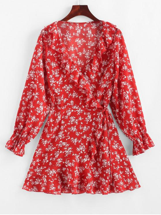 trendy ZAFUL Tiny Floral Ruffles Asymmetric Wrap Dress - LAVA RED S