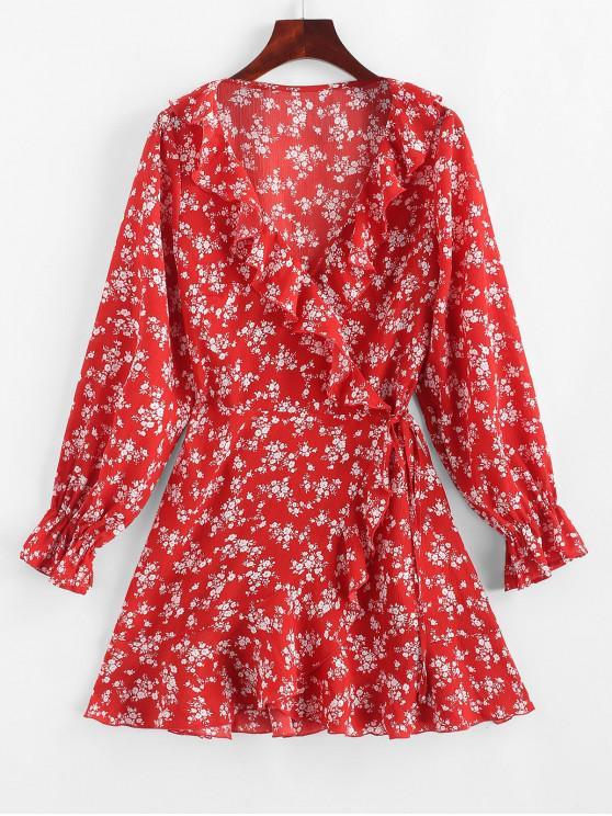 womens ZAFUL Tiny Floral Ruffles Asymmetric Wrap Dress - LAVA RED M