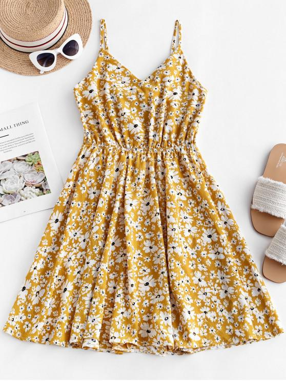 womens Floral Print Knotted Back Flared Cami Dress - YELLOW L