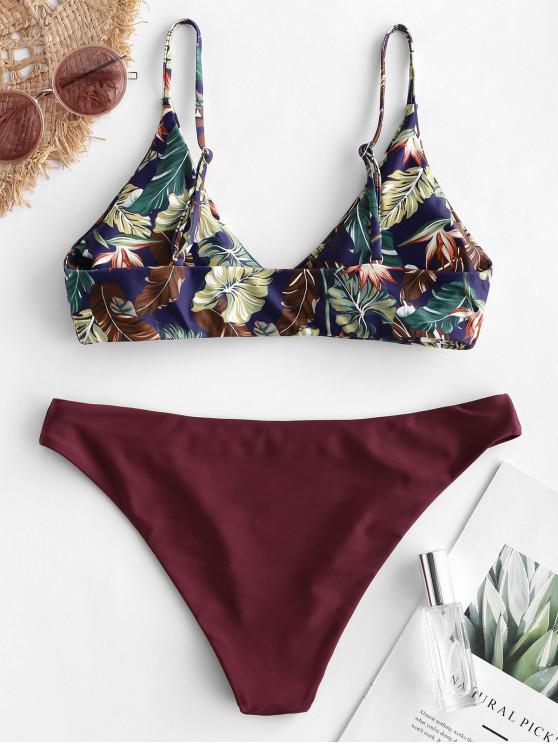 Maillot M Bikini Bain De Feuille TropicaleRouge Zaful Vineux yNvm0nO8wP