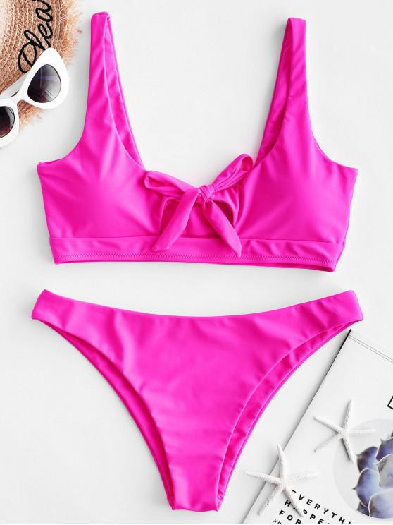 womens ZAFUL Knot Neon Tank Bikini Swimsuit - ROSE RED L