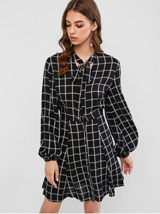 fashion ZAFUL Button Up Bow Tie Plaid Shirt Dress - BLACK L