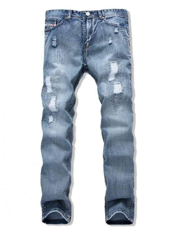 unique Long Straight Patchwork Ripped Casual Denim Pants - JEANS BLUE 34