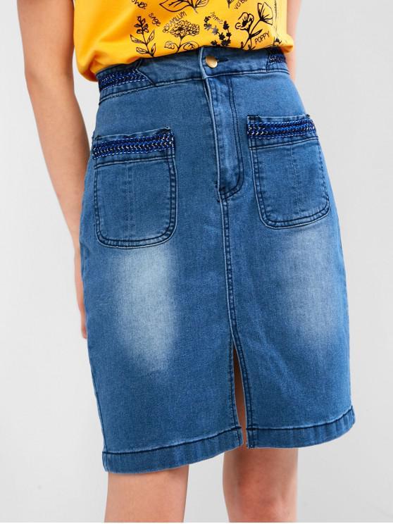 chic Braided Panel Slit Jean Skirt - DENIM BLUE S